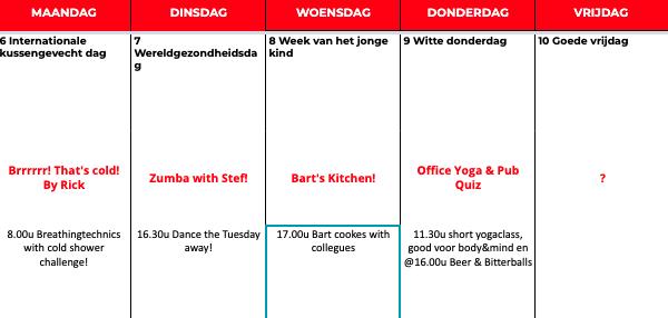 voor en door collega kalender